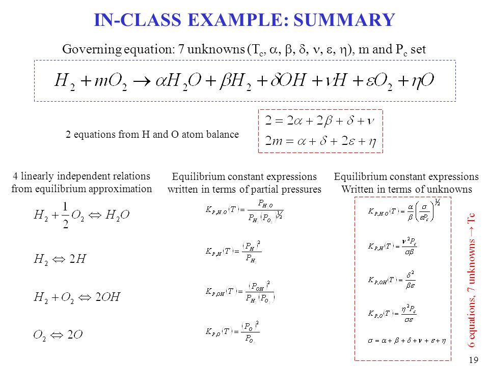 IN-CLASS EXAMPLE: SUMMARY Governing equation: 7 unknowns (T c,  ), m and P c set 2 equations from H and O atom balance 4 linearly indep