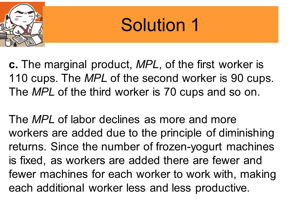 c. The marginal product, MPL, of the first worker is 110 cups.