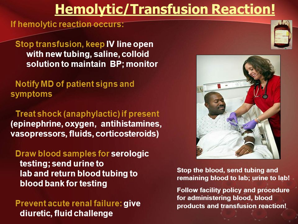 Hemolytic/Transfusion Reaction ! Hemolytic/Transfusion Reaction ! Most dangerous! Develops within first 15 minutes of transfusion: free hemoglobin in