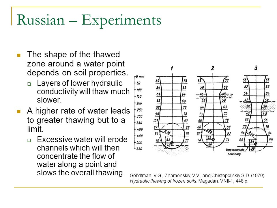 Russian – Experiments The shape of the thawed zone around a water point depends on soil properties.  Layers of lower hydraulic conductivity will thaw
