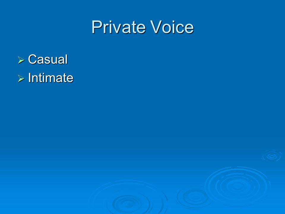 Private Voice  Casual  Intimate