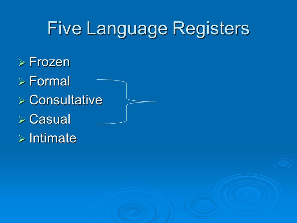 Five Language Registers  Frozen  Formal  Consultative  Casual  Intimate