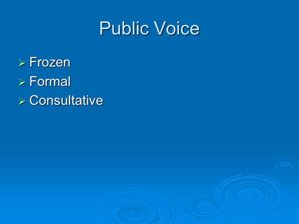 Public Voice  Frozen  Formal  Consultative