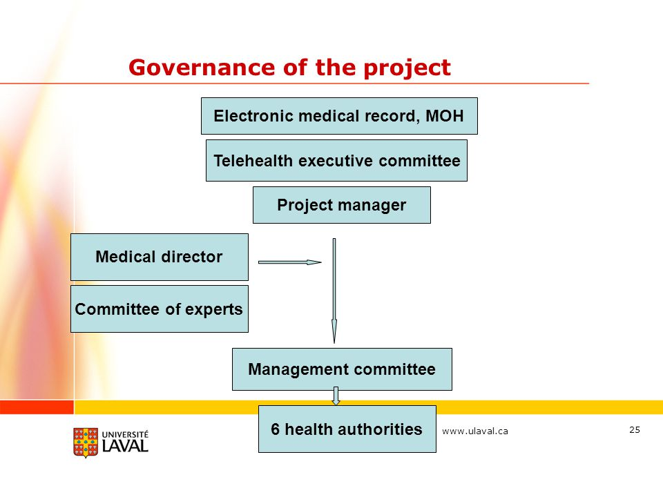 www.ulaval.ca 25 Governance of the project Electronic medical record, MOH Telehealth executive committee Project manager Management committee Medical director Committee of experts 6 health authorities
