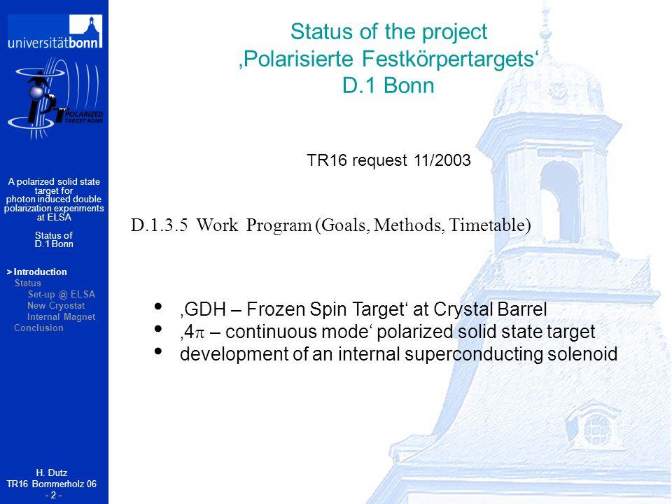 >Introduction Status Set-up @ ELSA New Cryostat Internal Magnet Conclusion Status of the project 'Polarisierte Festkörpertargets' D.1 Bonn H.