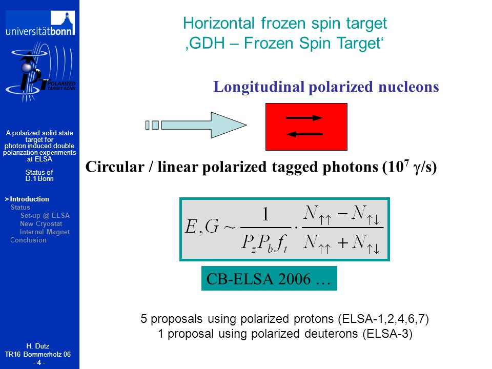>Introduction Status Set-up @ ELSA New Cryostat Internal Magnet Conclusion H.