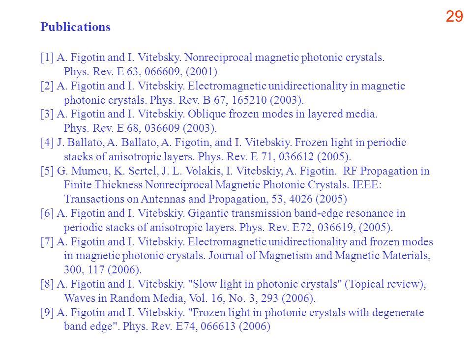 29 Publications [1] A. Figotin and I. Vitebsky. Nonreciprocal magnetic photonic crystals.