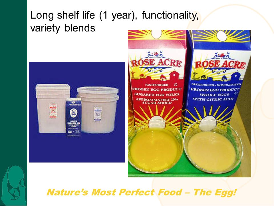 Nature's Most Perfect Food – The Egg! Long shelf life (1 year), functionality, variety blends