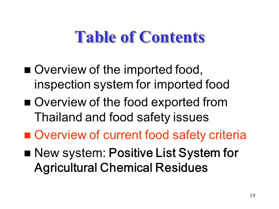 19 Table of Contents Overview of the imported food, inspection system for imported food Overview of the food exported from Thailand and food safety is