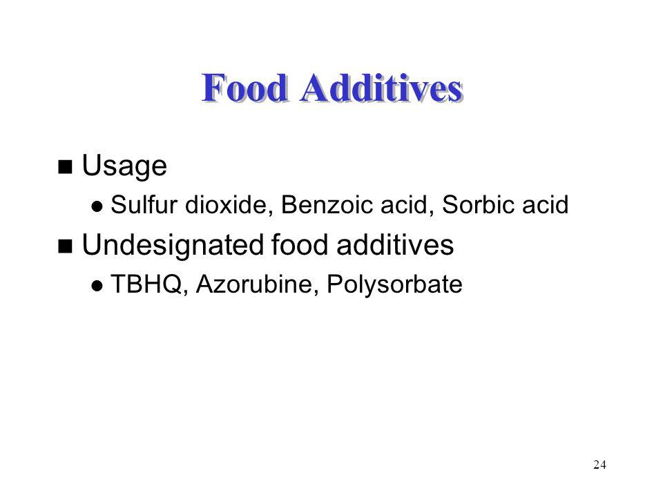 24 Food Additives Usage Sulfur dioxide, Benzoic acid, Sorbic acid Undesignated food additives TBHQ, Azorubine, Polysorbate