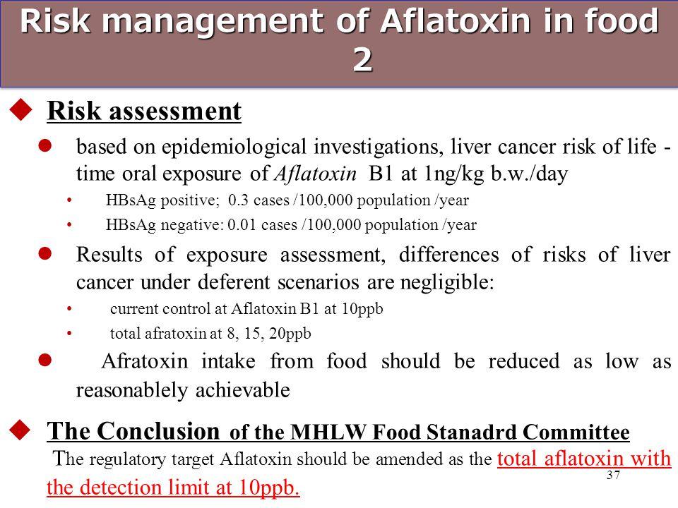 Risk management of Aflatoxin in food 2  Risk assessment based on epidemiological investigations, liver cancer risk of life - time oral exposure of Af