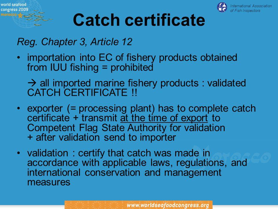 International Association of Fish Inspectors Catch certificate Reg.