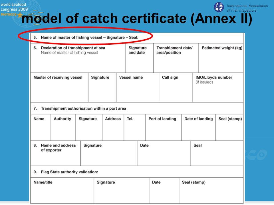 International Association of Fish Inspectors model of catch certificate (Annex II)