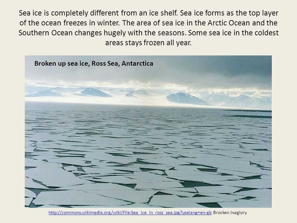 Sea ice is completely different from an ice shelf.