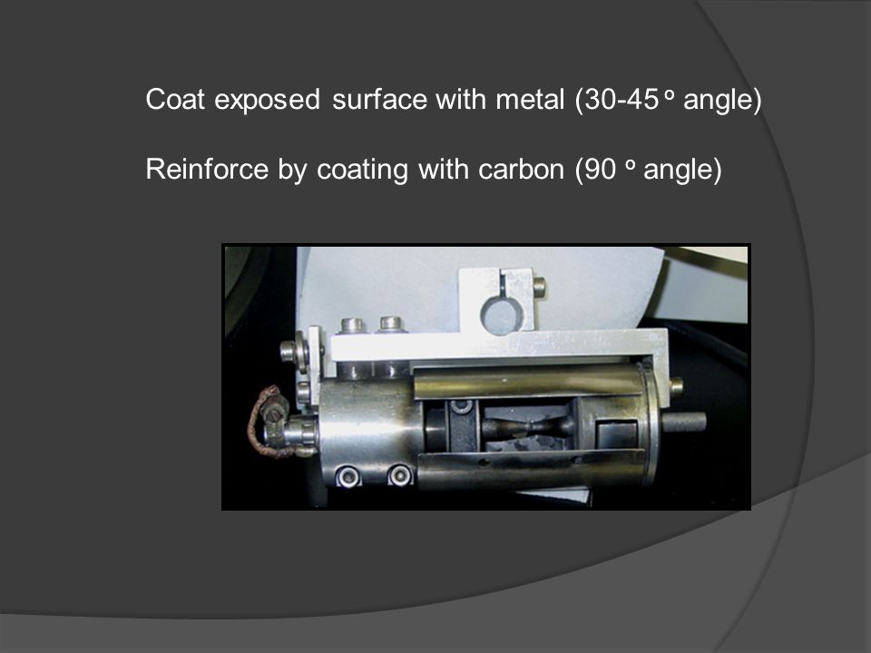 Coat exposed surface with metal (30-45 o angle) Reinforce by coating with carbon (90 o angle)