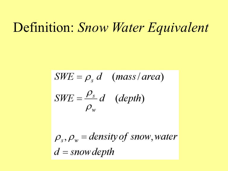 Definition: Snow Water Equivalent
