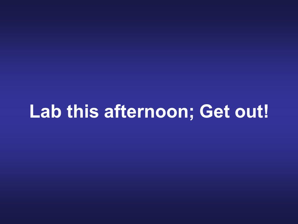 Lab this afternoon; Get out!