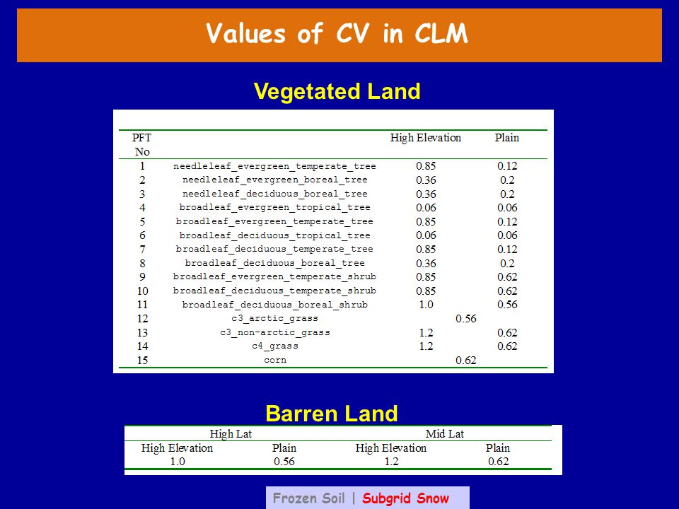 Values of CV in CLM Barren Land Vegetated Land Frozen Soil | Subgrid Snow