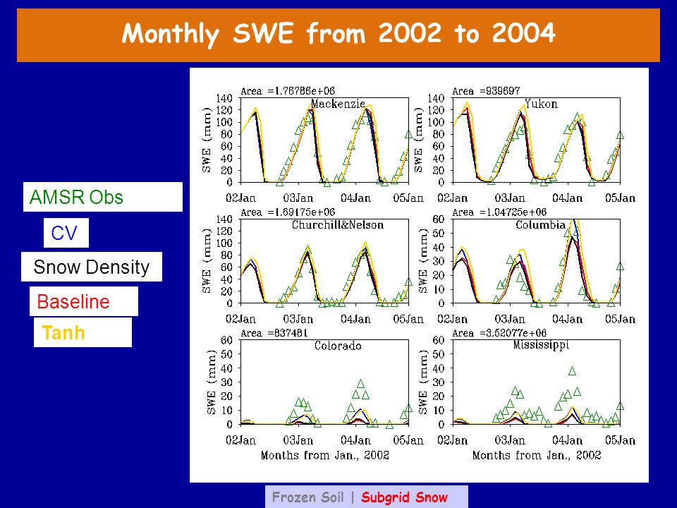 CV Baseline Tanh AMSR Obs Snow Density Monthly SWE from 2002 to 2004 Frozen Soil | Subgrid Snow
