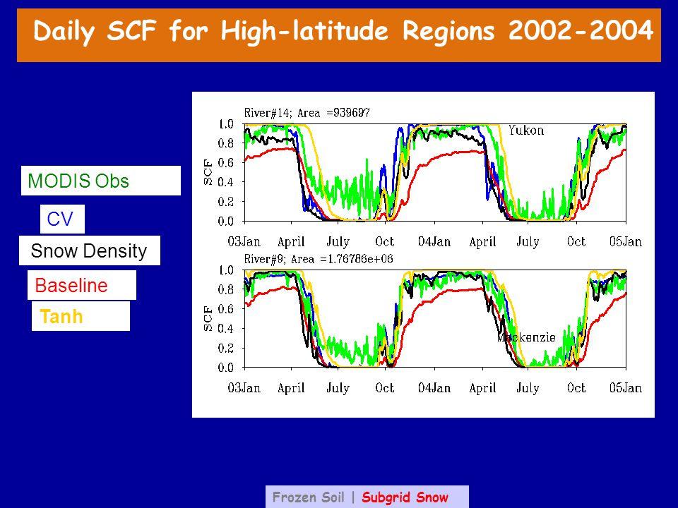 CV Baseline Tanh MODIS Obs Snow Density Daily SCF for High-latitude Regions 2002-2004 Frozen Soil | Subgrid Snow