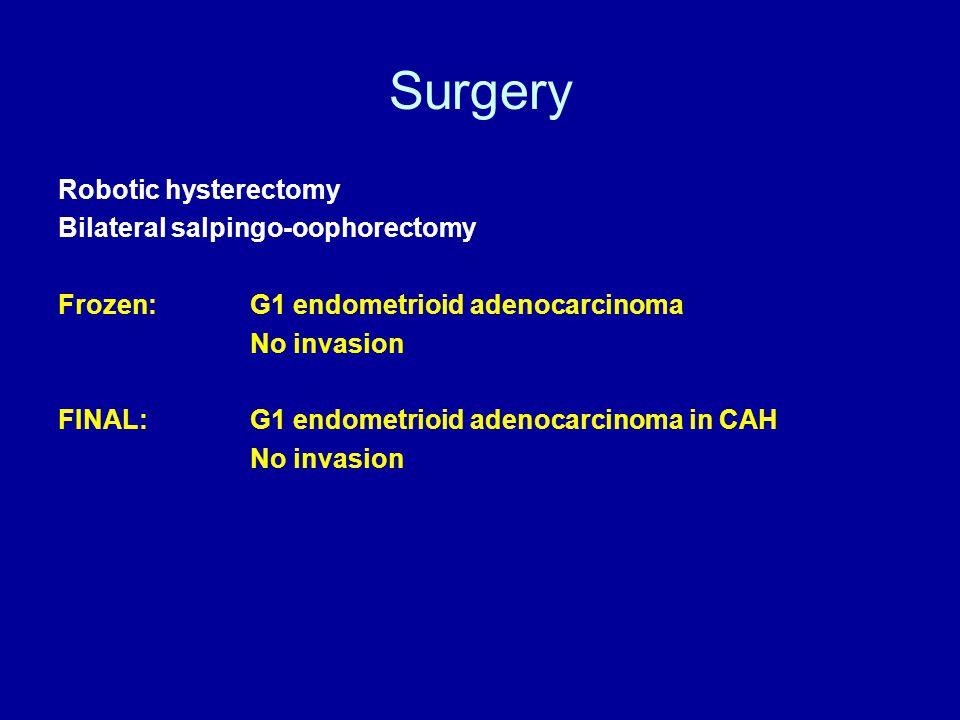 Surgery Robotic hysterectomy Bilateral salpingo-oophorectomy Frozen: G1 endometrioid adenocarcinoma No invasion FINAL:G1 endometrioid adenocarcinoma in CAH No invasion