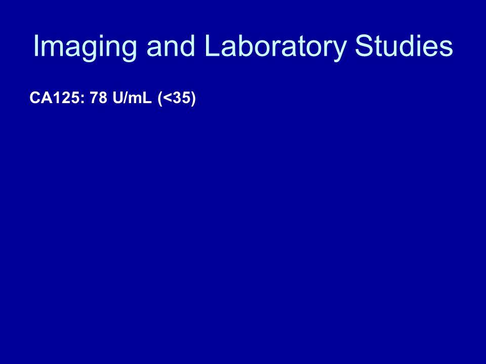Imaging and Laboratory Studies CA125: 78 U/mL (<35)