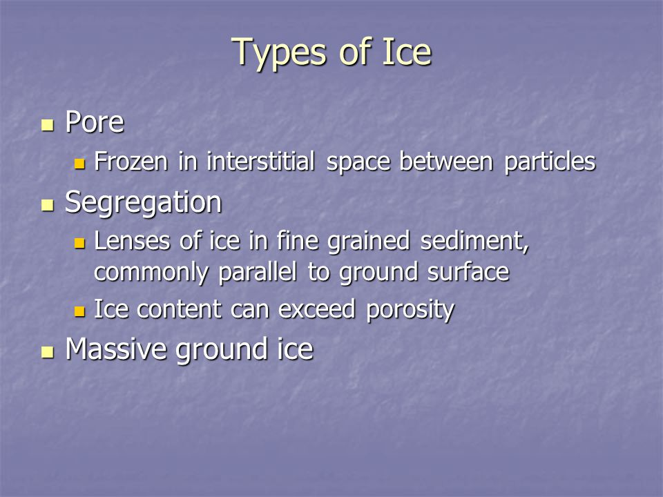 Types of Ice Pore Pore Frozen in interstitial space between particles Frozen in interstitial space between particles Segregation Segregation Lenses of
