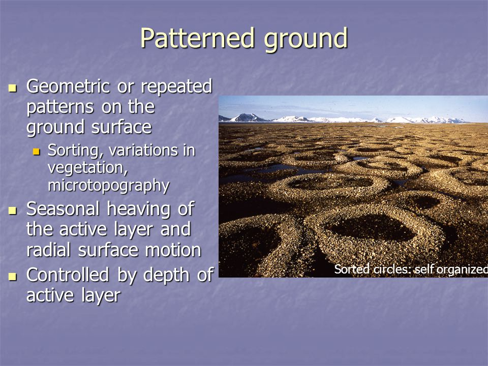 Patterned ground Geometric or repeated patterns on the ground surface Geometric or repeated patterns on the ground surface Sorting, variations in vege