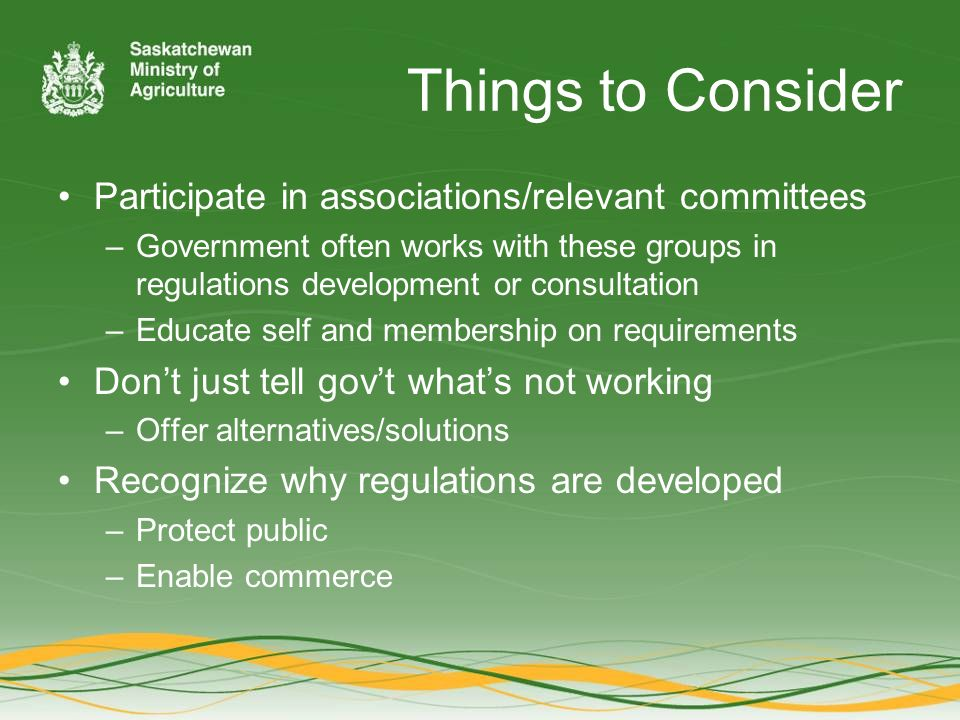 Things to Consider Participate in associations/relevant committees –Government often works with these groups in regulations development or consultation –Educate self and membership on requirements Don't just tell gov't what's not working –Offer alternatives/solutions Recognize why regulations are developed –Protect public –Enable commerce