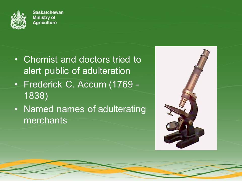 Chemist and doctors tried to alert public of adulteration Frederick C.