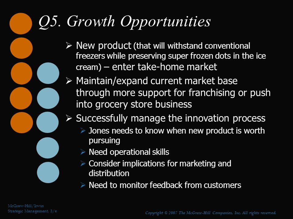 Q5. Growth Opportunities McGraw-Hill/Irwin Strategic Management, 3/e Copyright © 2007 The McGraw-Hill Companies, Inc. All rights reserved.  New produ