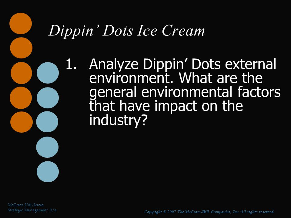 Dippin' Dots Ice Cream 1.Analyze Dippin' Dots external environment. What are the general environmental factors that have impact on the industry? McGra