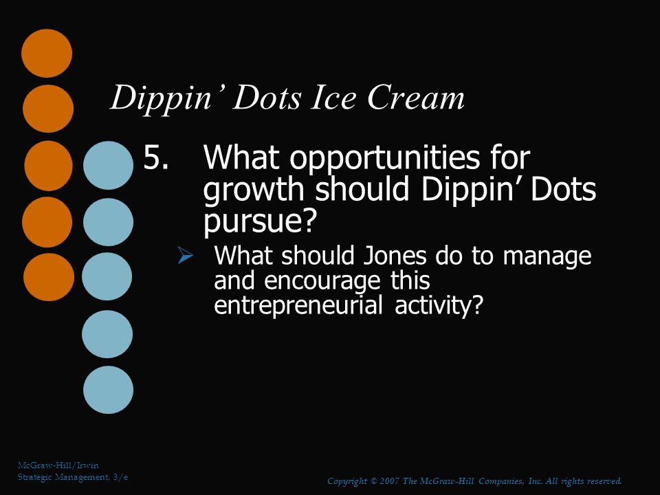 Dippin' Dots Ice Cream 5.What opportunities for growth should Dippin' Dots pursue?  What should Jones do to manage and encourage this entrepreneurial