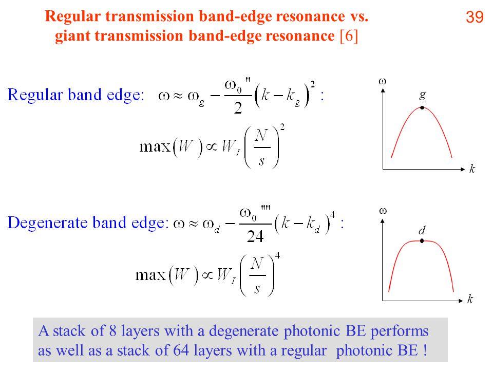39 Regular transmission band-edge resonance vs.