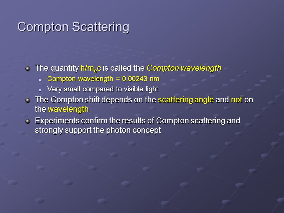 Problem: Compton scattering A beam of 0.68-nm photons (E=1828 eV) undergoes Compton scattering from free electrons.