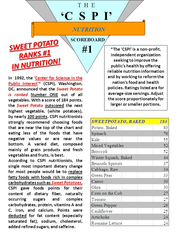 NUTRITION T H E 'C S P I' SCOREBOARD #1 SWEET POTATO RANKS #1 IN NUTRITION.