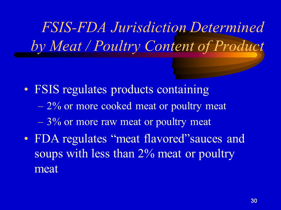 30 FSIS-FDA Jurisdiction Determined by Meat / Poultry Content of Product FSIS regulates products containing –2% or more cooked meat or poultry meat –3% or more raw meat or poultry meat FDA regulates meat flavored sauces and soups with less than 2% meat or poultry meat
