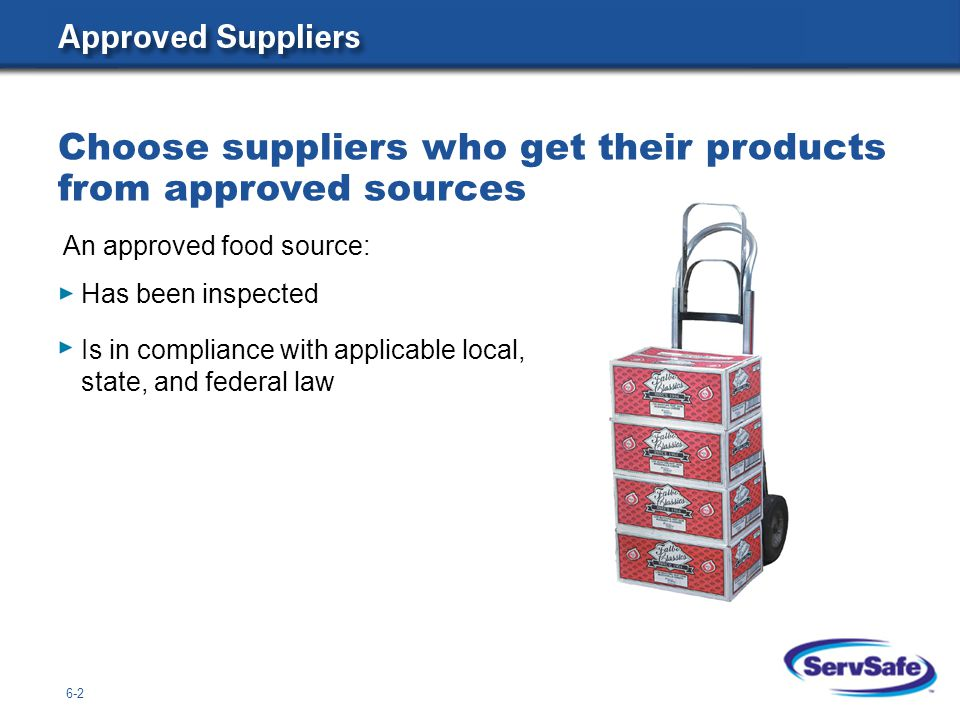 Has been inspected Is in compliance with applicable local, state, and federal law Choose suppliers who get their products from approved sources An approved food source: 6-2