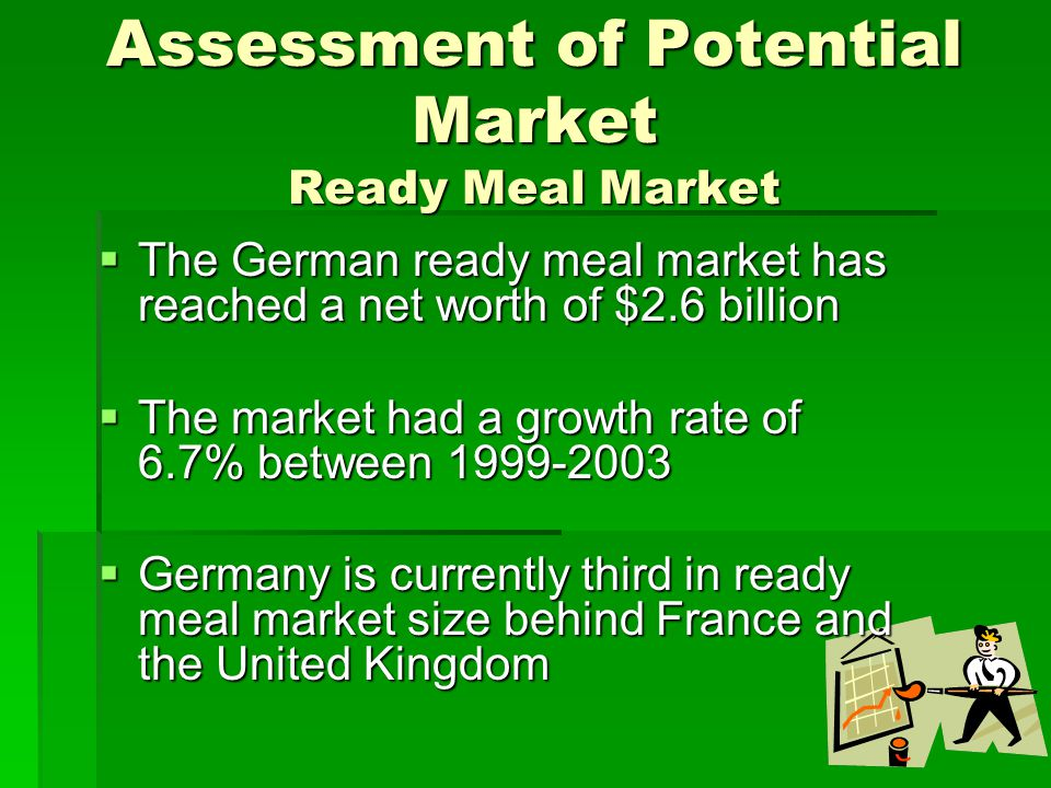 Assessment of Potential Market Ready Meal Market  The German ready meal market has reached a net worth of $2.6 billion  The market had a growth rate