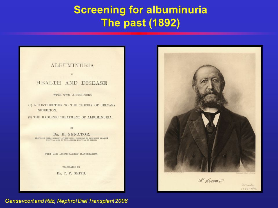 Screening for albuminuria The past (1892) Gansevoort and Ritz, Nephrol Dial Transplant 2008
