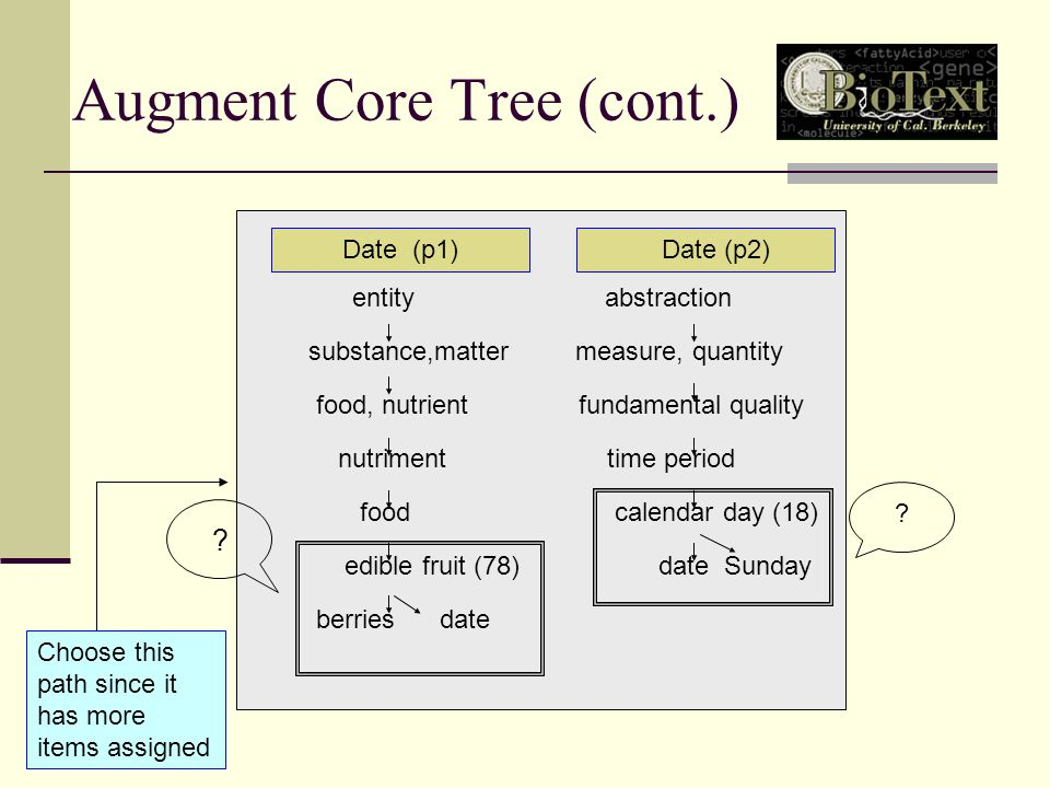 Augment Core Tree (cont.) Date (p1) Date (p2) entity abstraction substance,matter measure, quantity food, nutrient fundamental quality nutriment time period food calendar day (18) edible fruit (78) date Sunday berries date Choose this path since it has more items assigned .