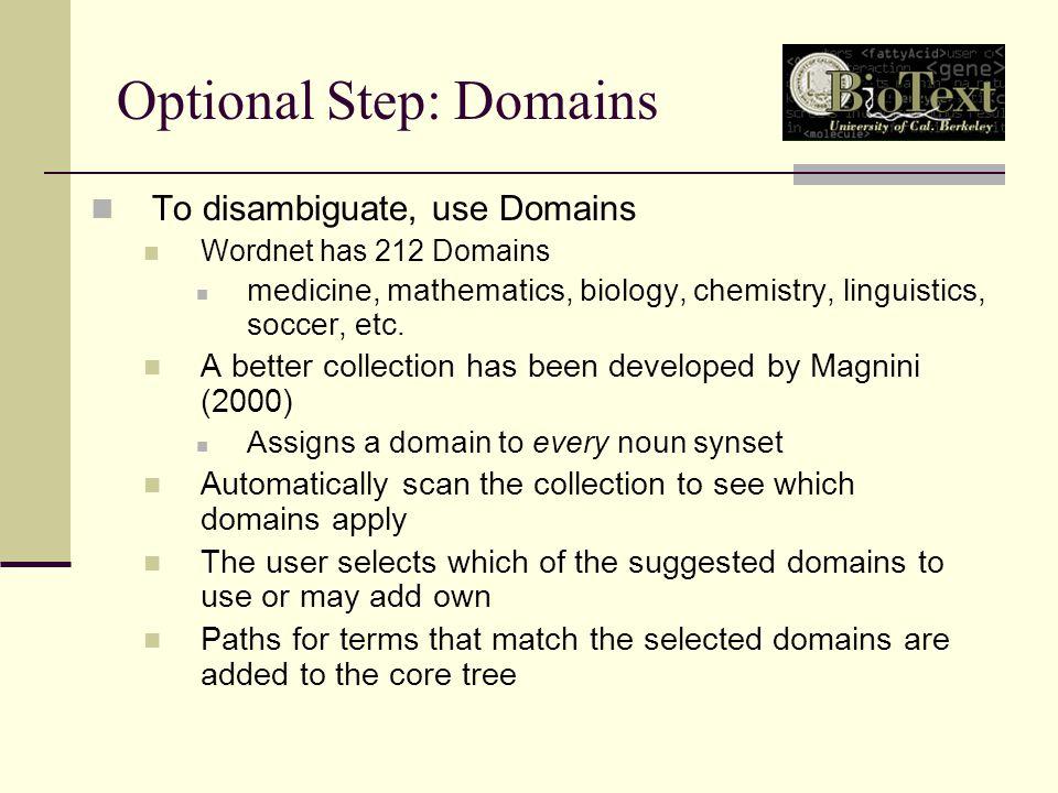 Optional Step: Domains To disambiguate, use Domains Wordnet has 212 Domains medicine, mathematics, biology, chemistry, linguistics, soccer, etc.