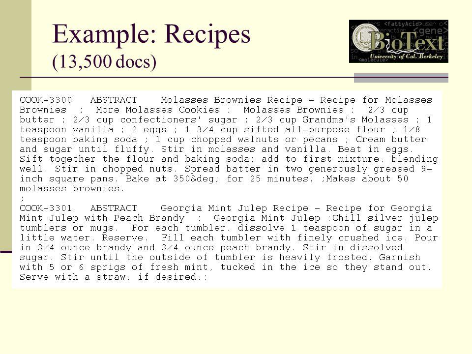 Example: Recipes (13,500 docs)