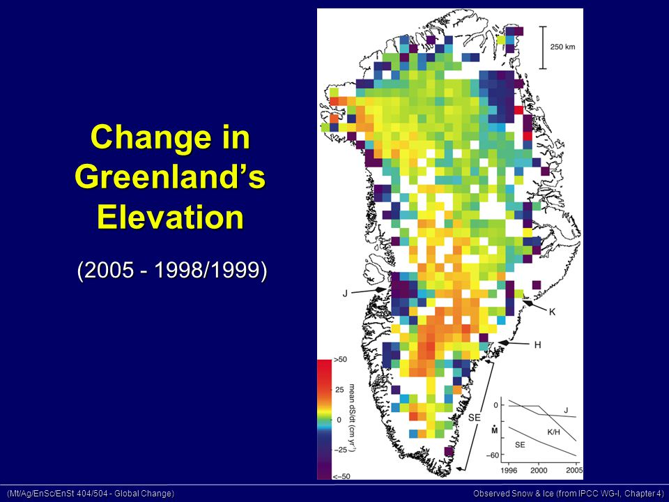 (Mt/Ag/EnSc/EnSt 404/504 - Global Change) Observed Snow & Ice (from IPCC WG-I, Chapter 4) Change in Greenland's Elevation (2005 - 1998/1999)