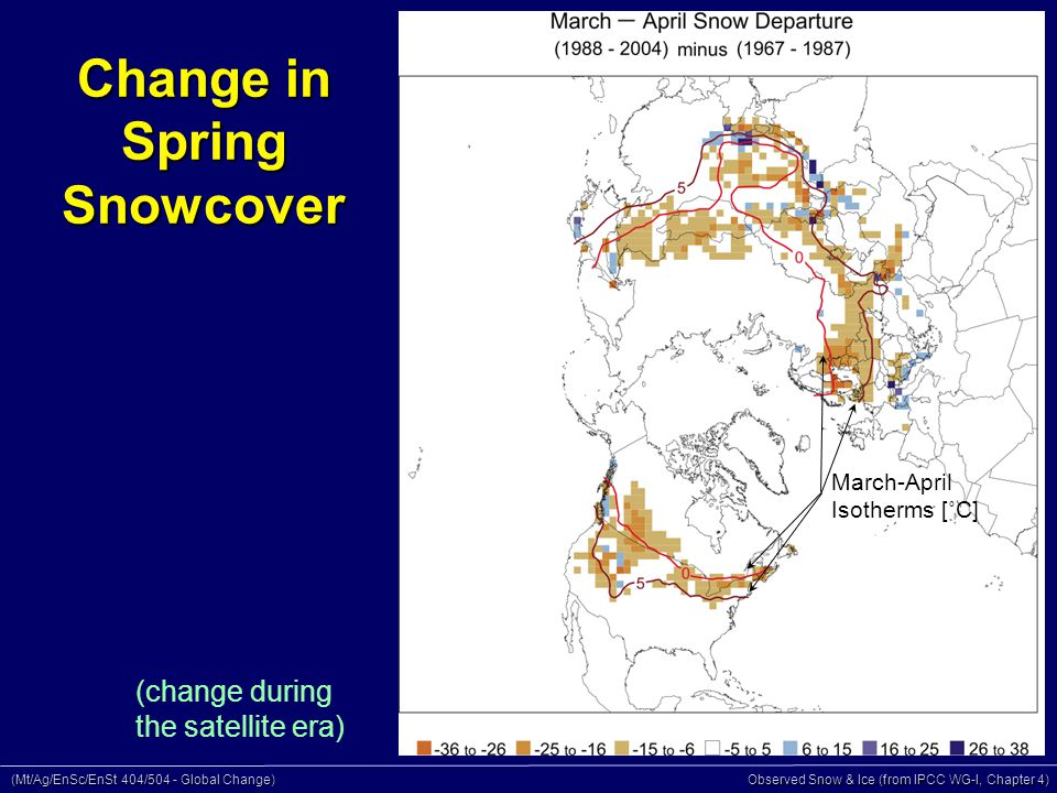 (Mt/Ag/EnSc/EnSt 404/504 - Global Change) Observed Snow & Ice (from IPCC WG-I, Chapter 4) Change in Spring Snowcover March-April Isotherms [˚C] (change during the satellite era)