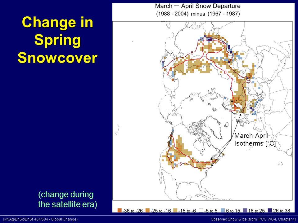(Mt/Ag/EnSc/EnSt 404/504 - Global Change) Observed Snow & Ice (from IPCC WG-I, Chapter 4) Changes in Glacier Length