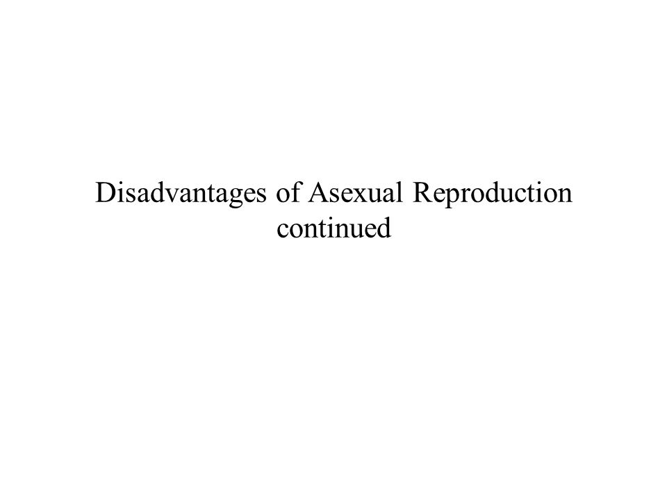 Disadvantages of Asexual Reproduction continued