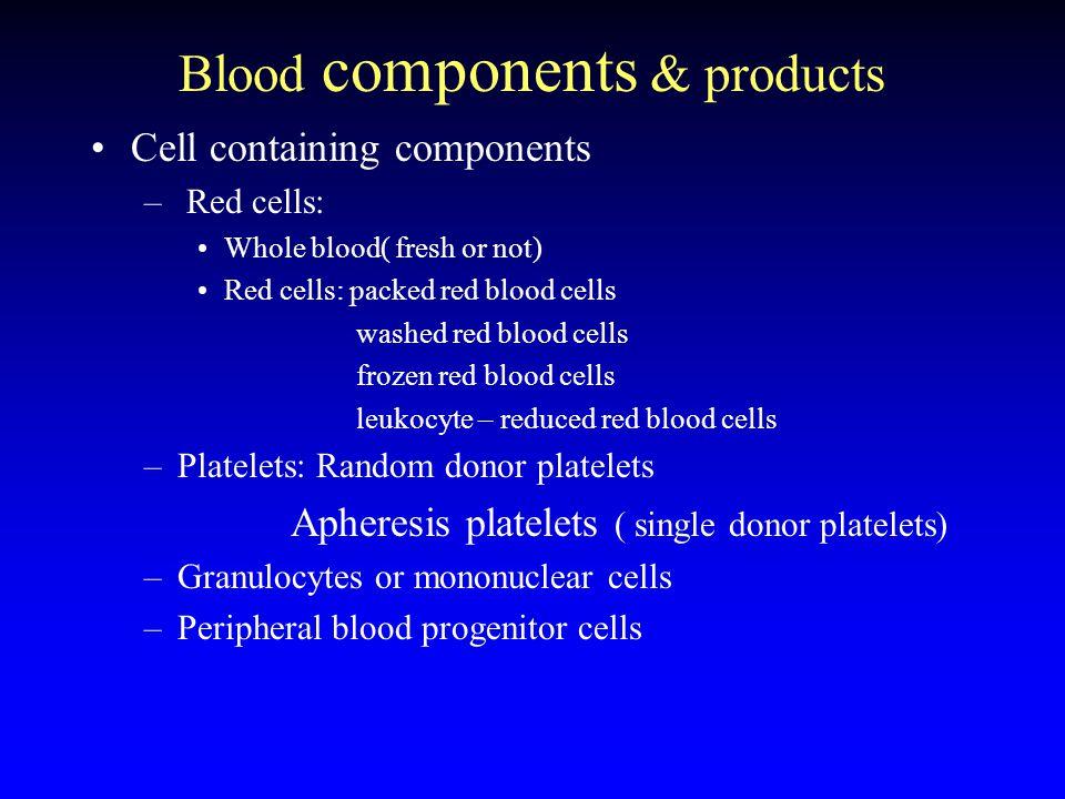 Blood components & products Plasma and products –Plasma : fresh / fresh-frozen plasma –Cryopresipitate –Coagulation factor concentrates –Immunglobulin preperations –Albumin –others