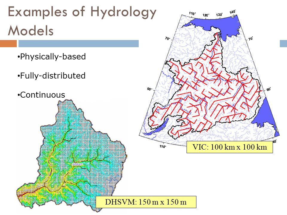 VIC: 100 km x 100 km DHSVM: 150 m x 150 m Physically-based Fully-distributed Continuous Examples of Hydrology Models