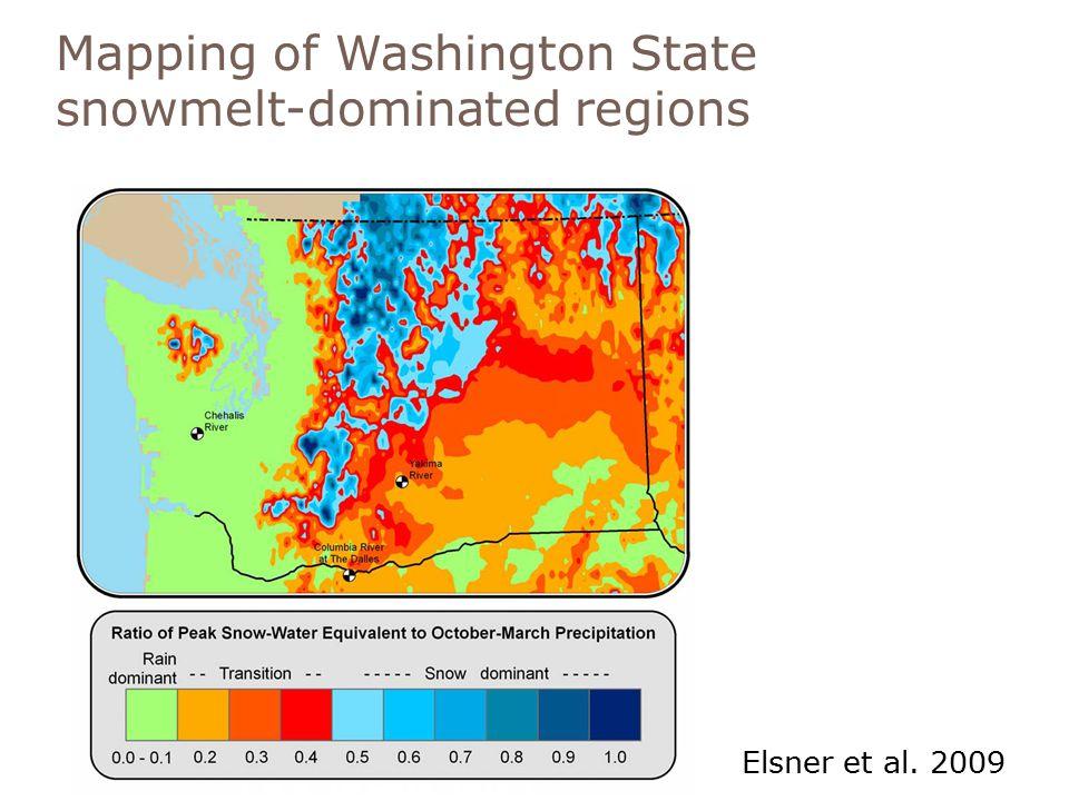 Mapping of Washington State snowmelt-dominated regions Elsner et al. 2009